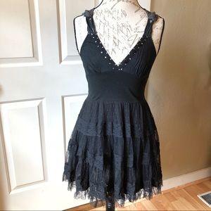 Free People Tulle Skirt & Crochet Back Mini Dress